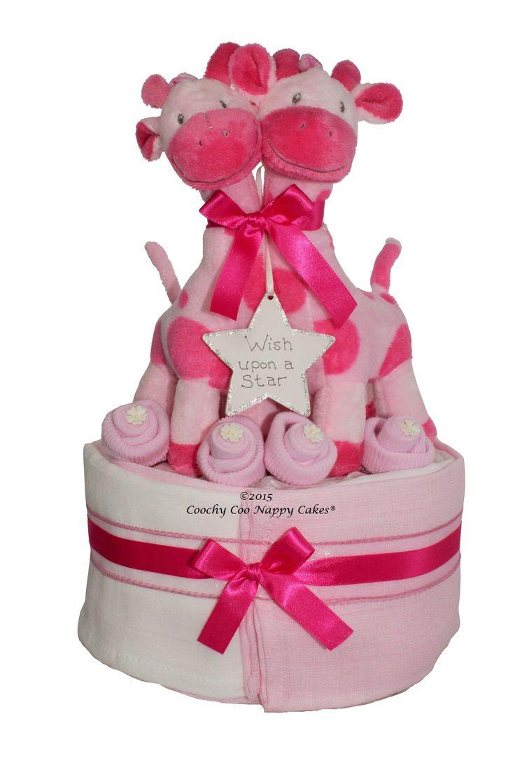 Twin Baby Girl nappy cake, baby shower gift UK