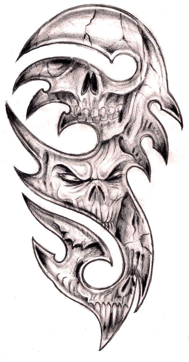 tribal skulls by tashitam designs interfaces tattoo design 2012 2015 ...