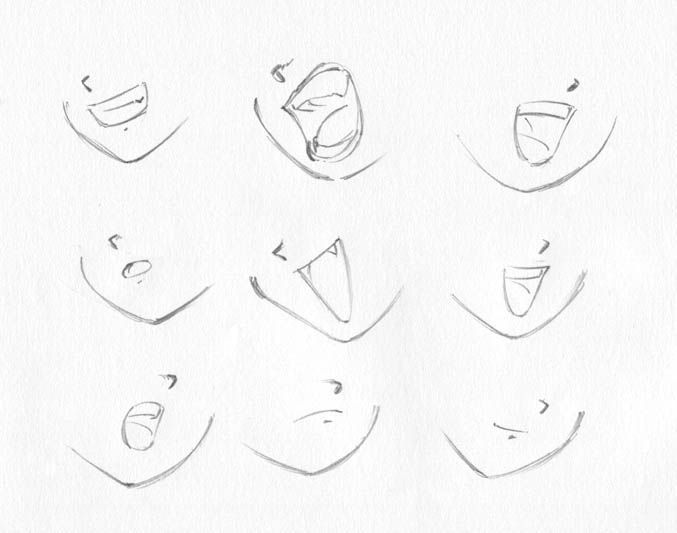 how to draw an open mouth from the side