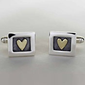 Heart of Gold Cufflinks Sterling Silver and 18ct Gold Alan Ardiff
