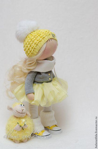 Коллекционные куклы ручной работы. Ярмарка Мастеров - ручная работа Лимонная малышка + овечка. Handmade.