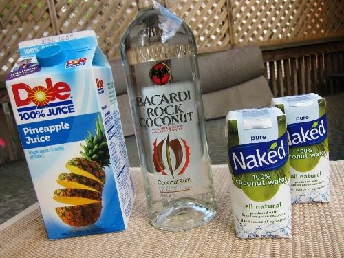 ---Skinny Piña Colada--- 2 oz Barcardi Rock Coconut Rum  5 oz coconut water  2 oz pineapple juice  :::    Combine ingredients in a cocktail shaker with ice.  Shake and strain into a glass filled with ice.  Garnish with a slice of pineapple and/or a Maraschino cherry (optional).  Drink and enjoy! *makes 1