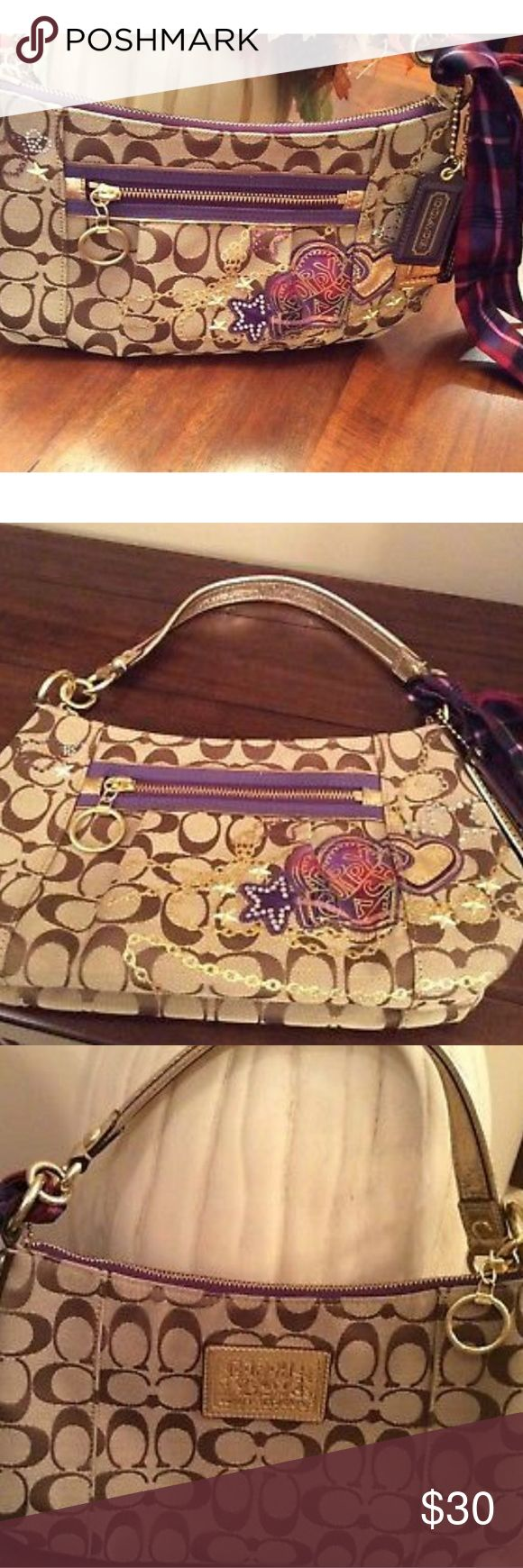 """AUTHENTIC COACH POPPY TARTAN HANDBAG SUPER CUTE Authentic Coach handbag Super cute handbag! Approximately 7"""" X 12"""" Purple accents Coach logo hangtags Gently carried in great condition Bundle with other items for even bigger savings Quick Shipping! Coach Bags Hobos"""