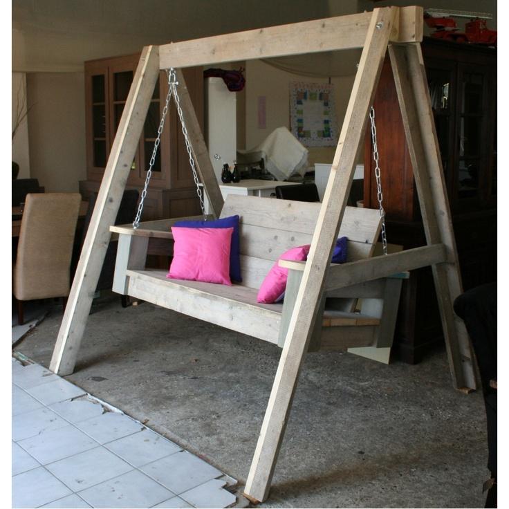 Steigerhout schommelbank pallets dingen zelf maken pinterest scaffolding wood verandas - Decoratie binnen veranda ...