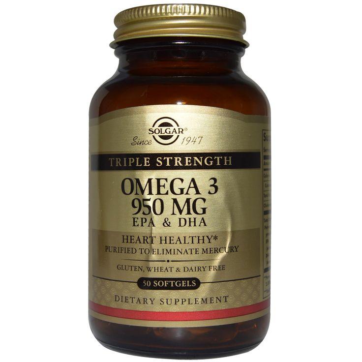Solgar, Омега-3 ЭПК & докозагексановая кислота, Тройная сила, 950 мг, 100 капсул