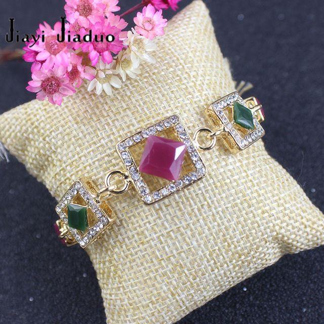 Jiayijiaduo Bohemian Resina Chapeamento de Ouro Pulseiras Para As Mulheres Liga Ágata Vermelha Bangle Retro Turquia Jóias Real