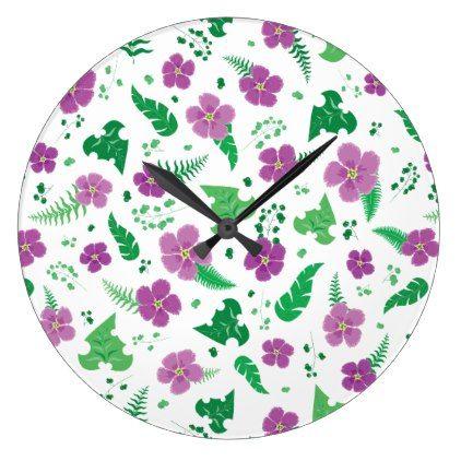 #Purple Hibiscus Large Clock - #flower gifts floral flowers diy
