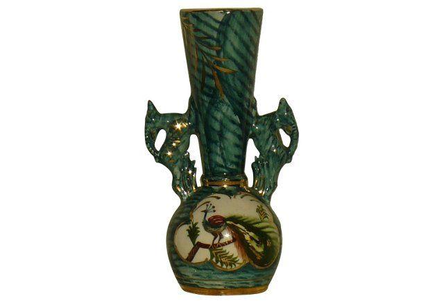 Midcentury Vase w/ Peacock