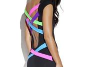 Neon Strap Back Party Dress