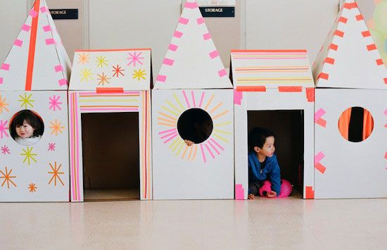7 Easy Cardboard Play Houses to Make this would be a cool Halloween party idea is you made these scary houses.