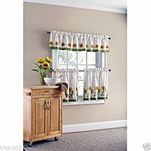 Sunny-Sunflower-3-Piece-Kitchen-Curtain-Set