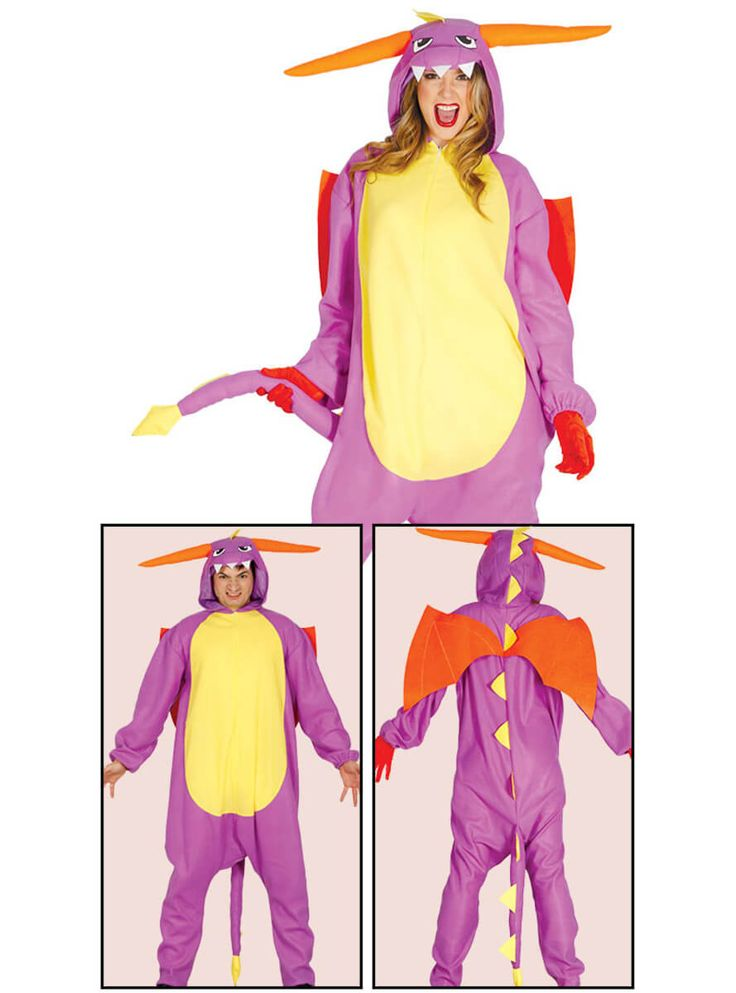 Disfraz pijama de dragón morado unisex