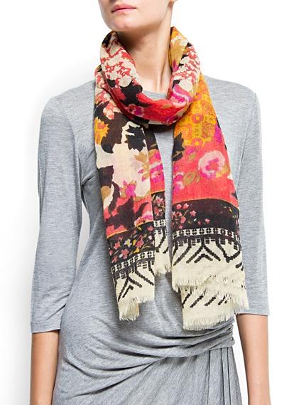 Floral print wool scarf