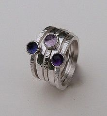 Amethyst, Pink Amethyst and Iolite stack rings by Jill Endicott Jewellery.