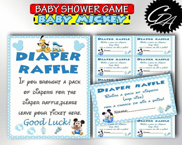 Printable Baby Shower Diaper Raffle Inspired With Baby Mickey Mouse Theme,  DIY, Print As Many Times As You Want.