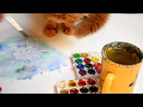 Step by step, speed painting of watercolor snowflake by Oana Unciuleanu....