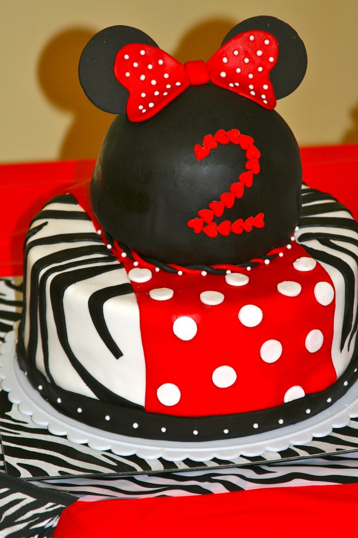 Minnie Mouse Zebra Cake made for my daughters 2nd Birthday Party ...