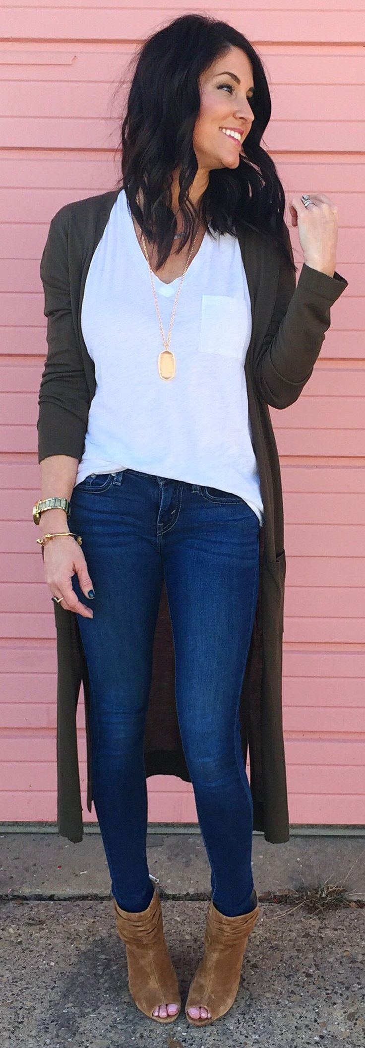 #winter #fashion /  Dark Maxi Cardigan / Navy Skinny Jeans / White Tee / Brown Open Toe Booties