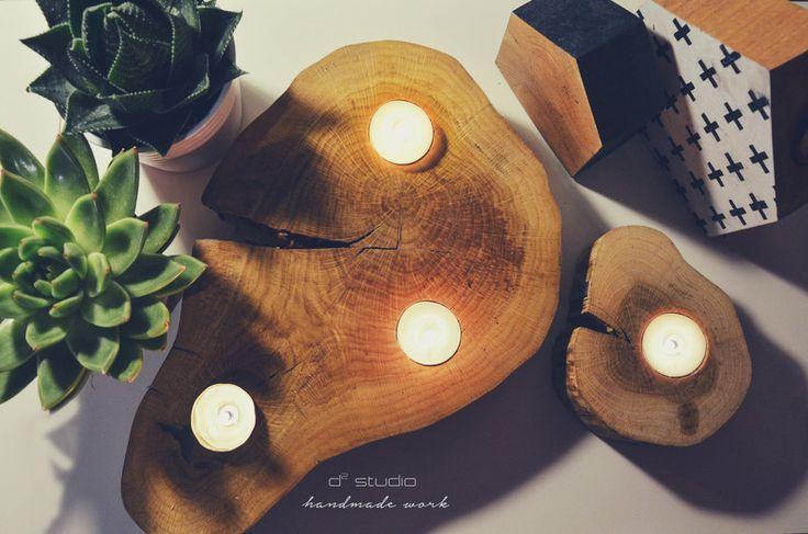 LIGHT ME ON świecznik dębowy -NATURALNY, handmade w D2 Studio - Drewno dla Twojego domu na DaWanda.com