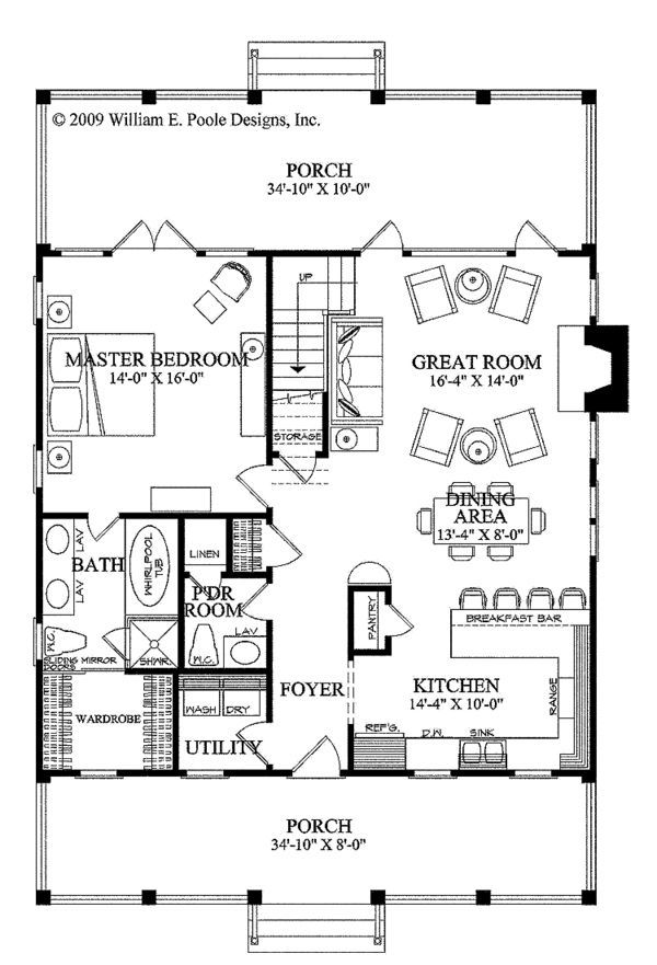 Country Style House Plan - 3 Beds 250 Baths 1738 Sq/Ft Plan #137