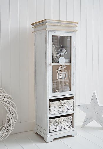 Vintage Cafe storage cupboard tall narrow. Affordable and elegant storage solutions for your home from The White Lighthouse. Order online with fast Delivery.