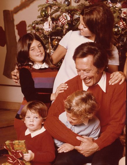 Andy Williams family Christmas:  wife, Claudine Longet, with children, Noelle, Christian, and Robert.
