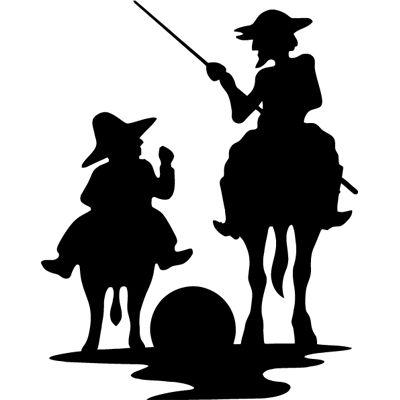 Quijote y Sancho Panza. Pegatina original para coche