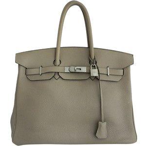 Hermes Birkin Bag 35 Etoupe Clemence Brushed Palladium
