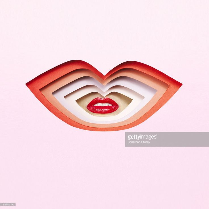 Lips through cardboard lips