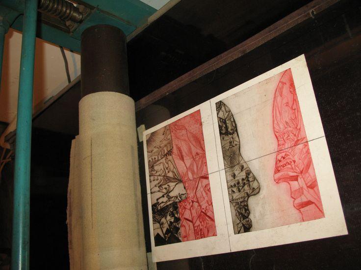 carte bibliofila 2. imprimarea gravurilor, la presa orizontala cu cilindri