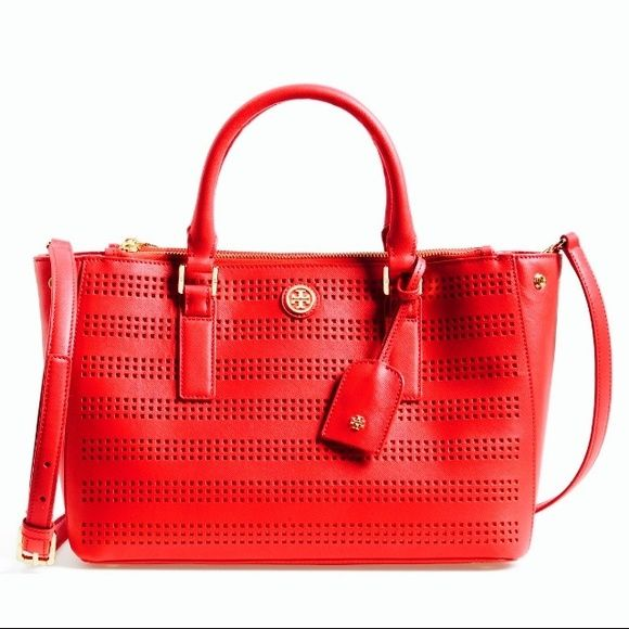 """HOLD✋ToryBurch Robinson leather satchel NWT Brand new ! NWT Tory Burch perforated Robinson satchel in carnation and poppy red beautiful please get familiar with Tory's definition of the color """" carnation poppy Red"""" trade value $600 Tory Burch Bags Satchels"""