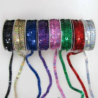 Laser Sequin Trim 5m Rolls in Multi Colours