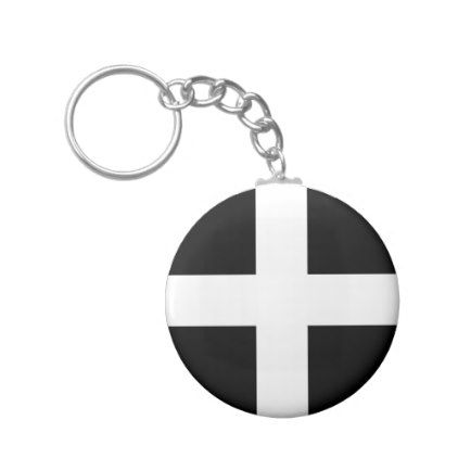 St. Pirans flag / flag of Cornwall Keychain - black and white gifts unique special b&w style