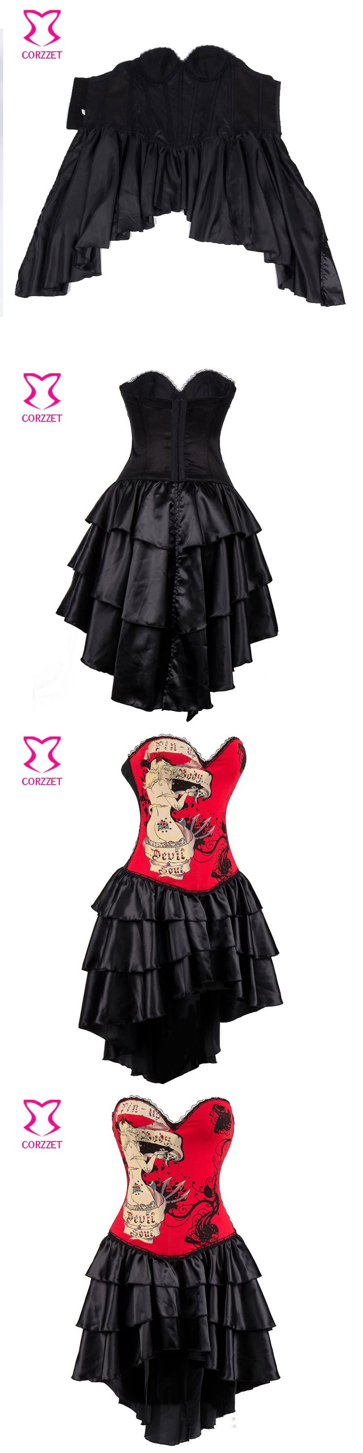 Steampunk Corsets Dress Vintage Bustier Top Gothic Overbust victorian Dress Steampunk Clothing burlesque costume Gothic Skirt