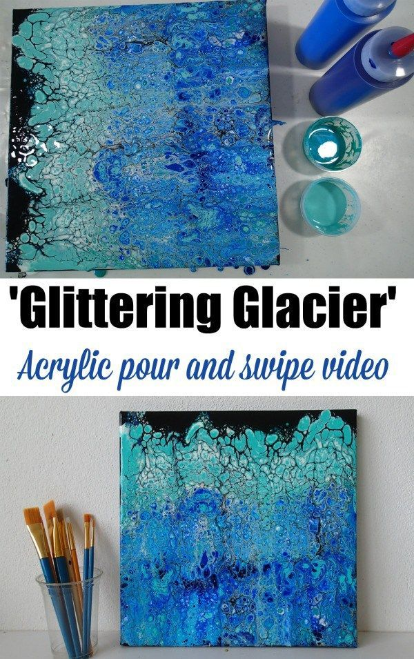 Beautiful acrylic pour and swipe video with icy glacier colors and even with glitter paints too