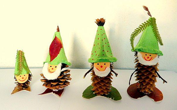 Weihnachtsdeko basteln mit Tannenzapfen – DIY Bastelideen - Weihnacht Wichtelmännchen basteln