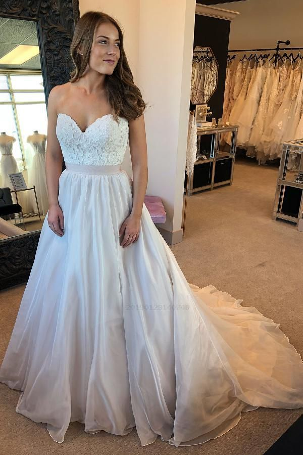 18fac54fe86 Discount Dazzling Wedding Dresses White Simple A-line Sweetheart White Long Wedding  Dress 2019 Wedding Dresses, A-Line Wedding Dresses, Long Wedding Dresses ...