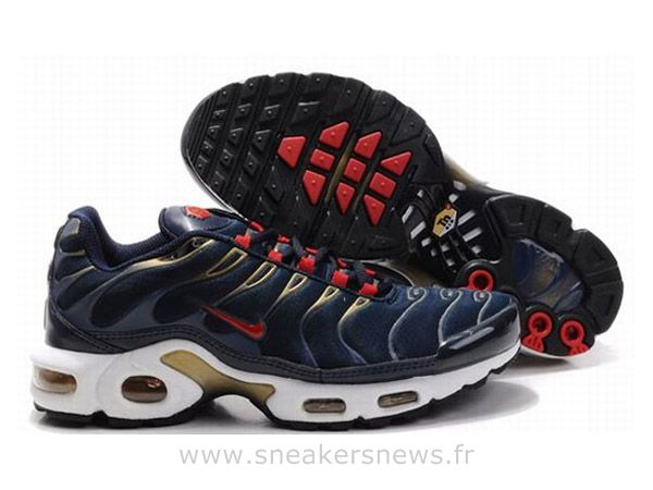 Chaussures de Nike Air Max Tn Requin Homme  Bleu foncé Rouge et Or Tn Requin 2013