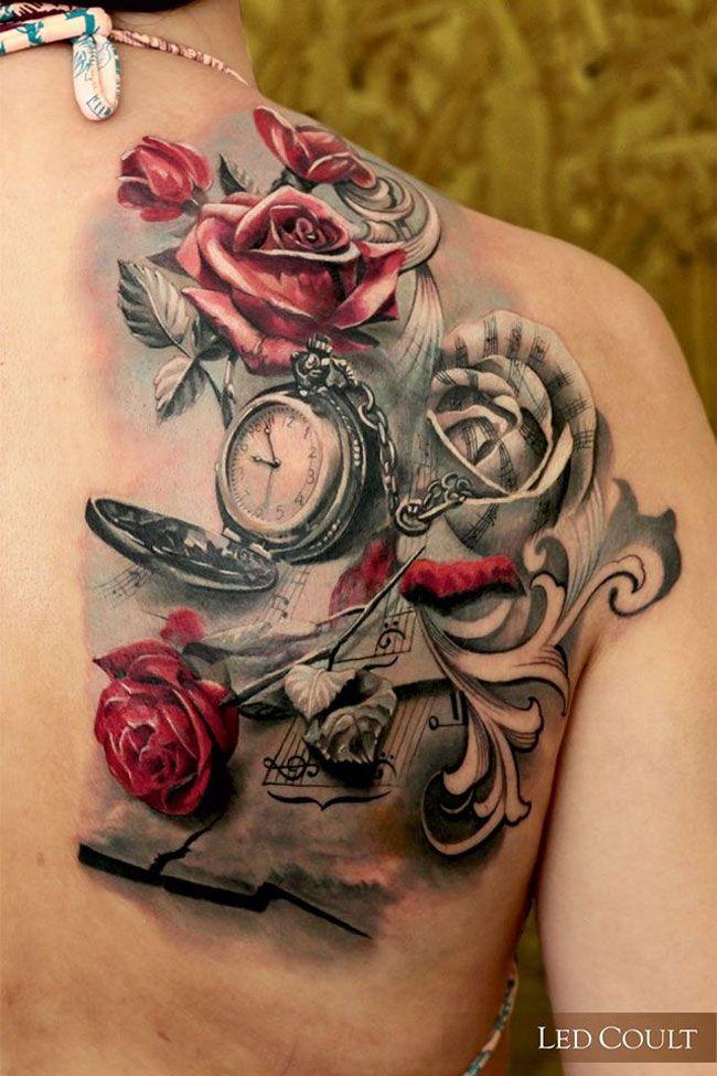 Music & Roses Back Piece | Best tattoo design ideas