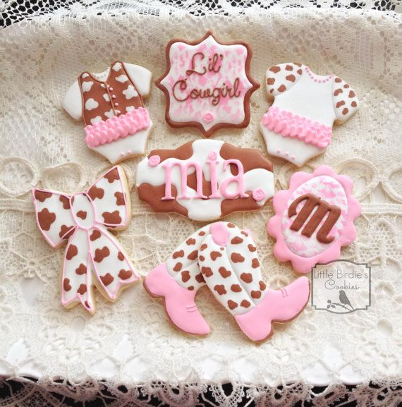 Little Cowgirl Baby Shower Decorations   Cowgirl Baby Shower Cookie Favors - 1 Dozen