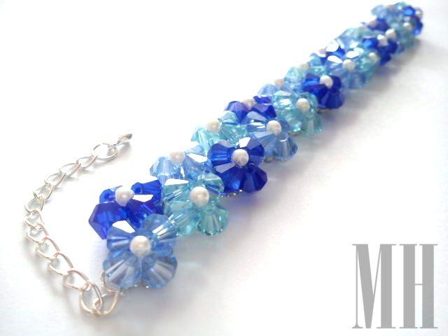 Niebieska bransoletka z koralików bicones i perełek | MH Biżuteria - cuda ręcznie wykonane