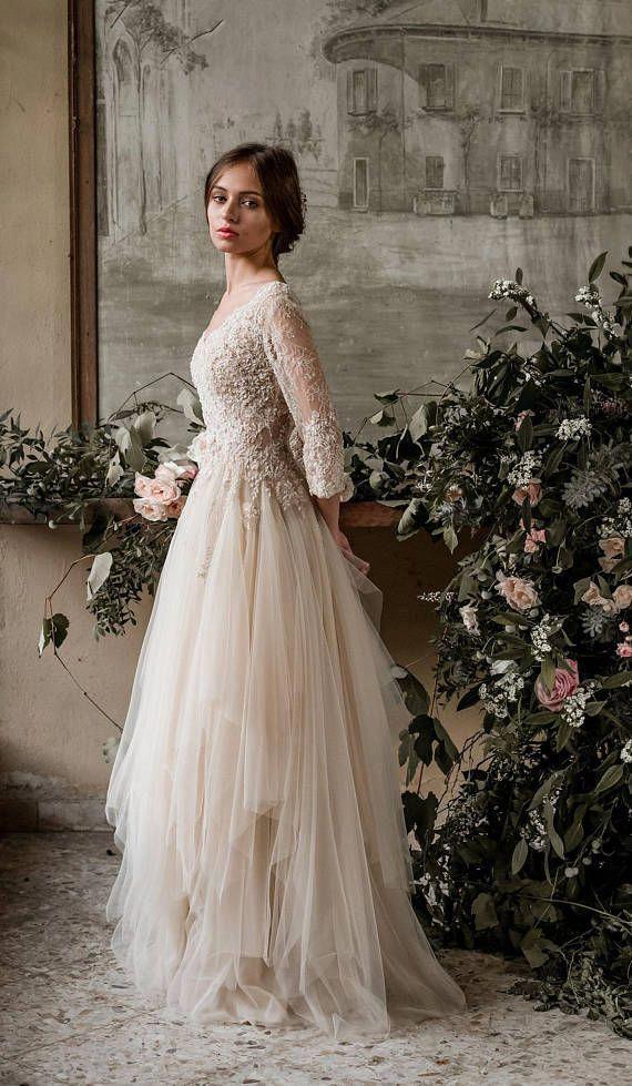 Champagne bohemian wedding dress boho wedding dress long