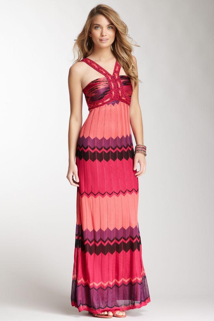 Hale Bob Zigzag Stripe Maxi Dress
