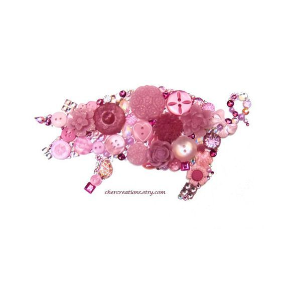 PIG LIGHT PINK 5x7 Button Art Button Artwork by CherCreations