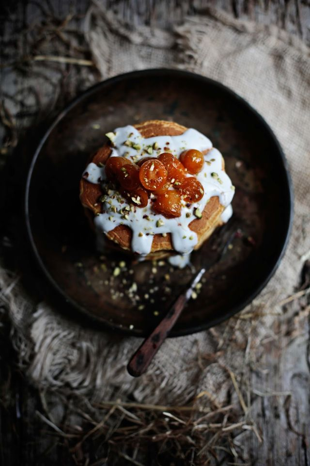 Spelt and butternut squash pancakes with poached kumquats
