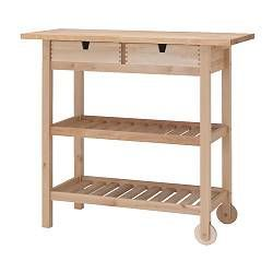 IKEA - FÖRHÖJA, Kitchen cart, Gives you extra storage, utility and work space.You can quickly view and access what's inside because the drawers can be pulled out from both sides.Open storage with space for 9 bottles on each shelf.