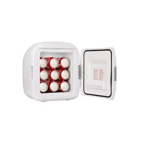 Gourmia GMF-900 Portable 9 Can Mini Fridge Cooler and Warmer for Home, Office, Car or Boat AC & DC, White