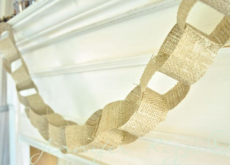 Make a decorative burlap chain.  How to stiffen the fabric use Modge Podge.  Details at:  http://www.jenniferrizzo.com/2013/09/how-to-make-an-oak-leaf-banner-from-dads-old-plaid-shirt.html