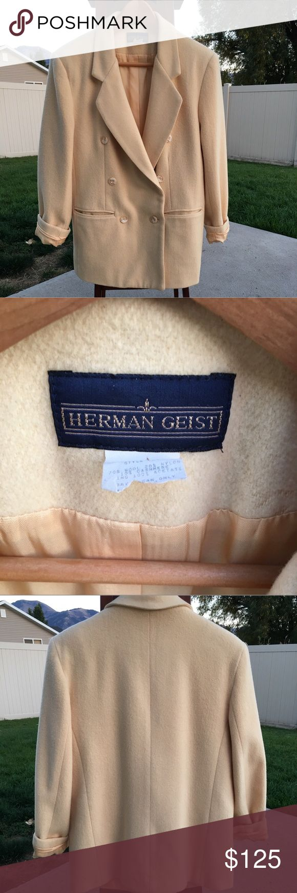 HERMAN GEIST - VINTAGE 1980s Jacket 1980's Herman Geist Blazer style jacket. It is 70% wool, 10% Mohair, 20% nylon. The jacket is in good condition with a few unnoticeable marks on the back near the bottom, price reflects that. This beautiful cream jacket is in just in time for the cold. Tag has been ripped with the size, but it is between a 6-8. PLEASE ask questions if you have them, I'm more than willing to take more pictures and measurements ❤️️❤️️ Herman Geist  Jackets & Coats