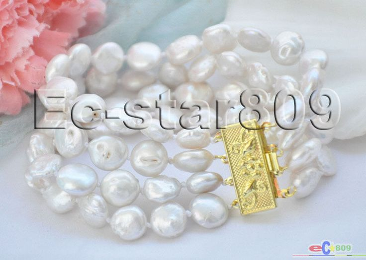 """P5371 4Row 8"""" 11Mm Coin White Freshwater Cultured Pearl Bracelet"""